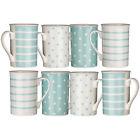 Set of 8 Pale Blue Mugs Spots Stripes Dotted Porcelain Tea Coffee Drinks Mug