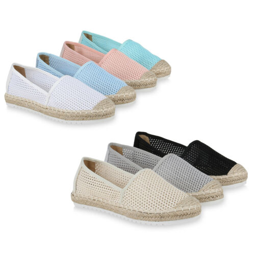 Damen Espadrilles Pailletten Bast Quasten Beach Schuhe 79113 Top