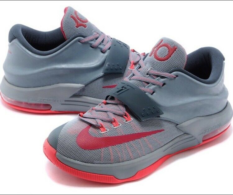 NIKE KD VII 7 CALM BEFORE THE STORM Sz 10 GREY HYPER PUNCH Red Pink 653996-060