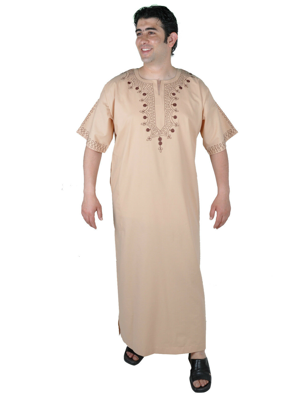 Modern Men's Caftan Housecoat Aus1001 Night in Beige - Kam00675