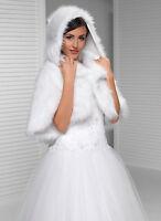 Wedding Faux Fur Ivory Bridal Shawl Wrap Stole Shrug Bolero Size 8-14 (s-xl)