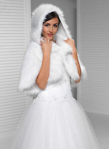 6ddbdba7128 NEW WOMENS GIRLS WEDDING FAUX FUR IVORY BRIDAL SHAWL WRAP STOLE ...