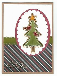 CHRISTMAS Greeting Card - Birds in Tree Merry - Handmade with Envelope