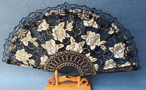 Hand-fan-Folding-fan-with-lace-See-through-43-cm-Rose-motif-Black-Noble