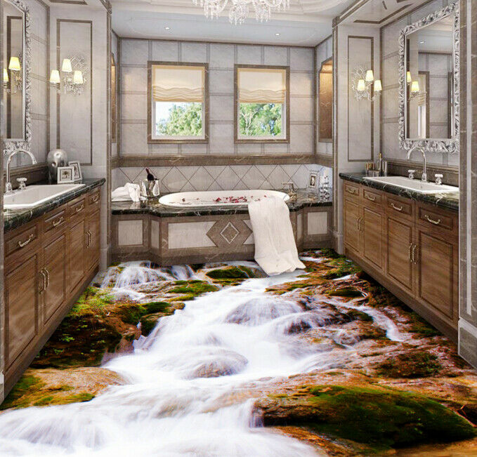 3D rocas Creek 542 Piso Papel Pintado Mural Parojo Impresión 5D AJ Wallpaper Reino Unido Limón