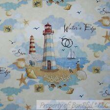 BonEful Fabric Cotton Quilt Blue White Cloud Beach Ocean Light*house Bird SCRAP