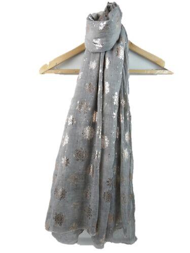 Rose Gold Snowflakes Ladies Scarf Shawl  Metallic Superior Quality Xmas Gift