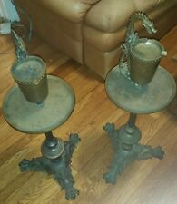 Pair of Antique Alfred Dunhill Bronze Dragon Smoke Stands - Heavy Bronze - RARE!