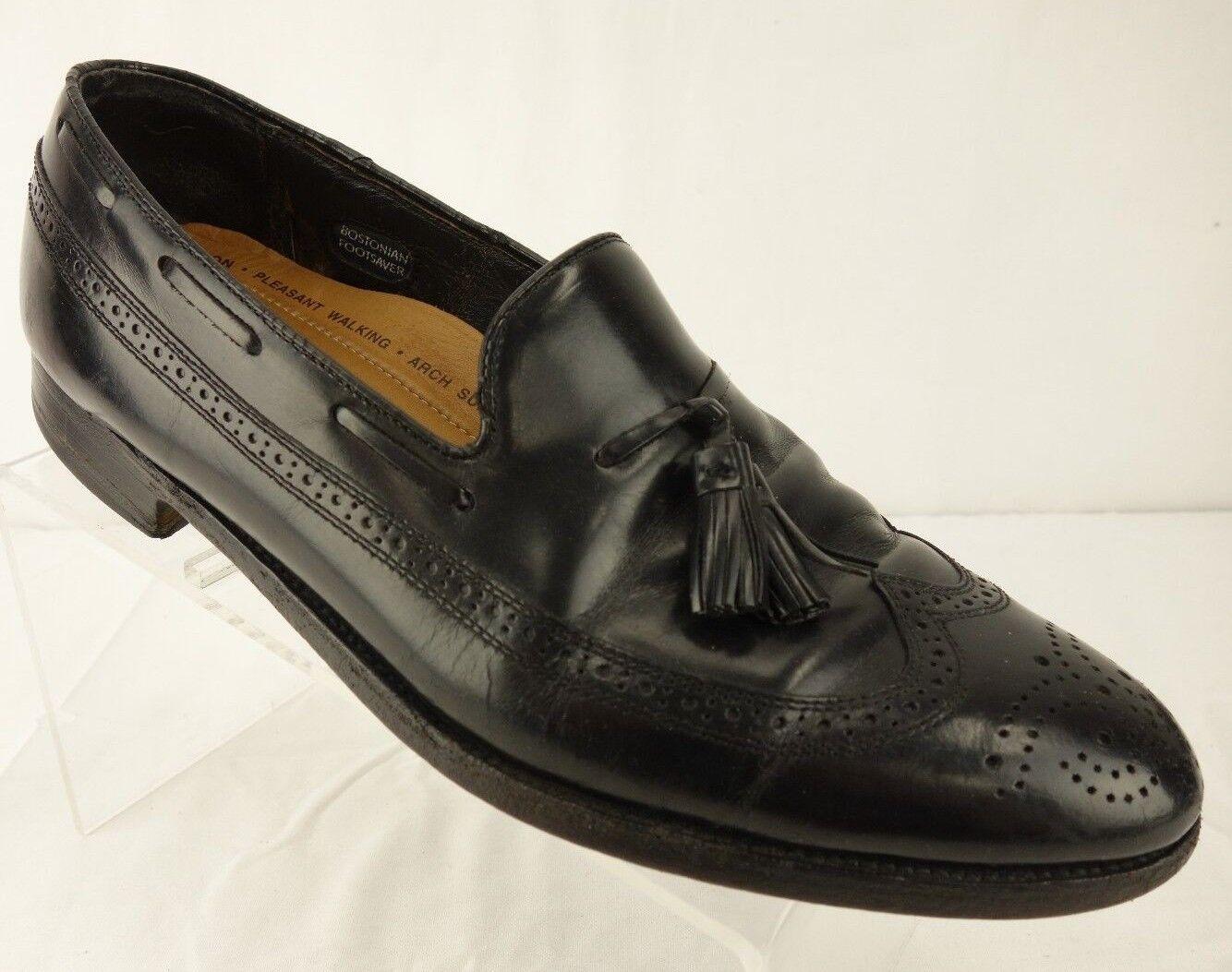 BOSTONIAN Brogue punta del ala Mocasines Con Borlas De Cuero Negro De Vestir Zapatos para hombre 11.5