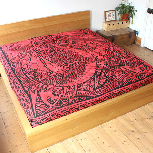 Red Celtic Fire Dragon throw FairTrade Double Bed spread cover hanging drape Big