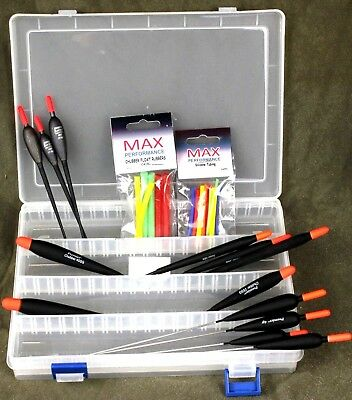 Premier Chubber floats set of 3 in float box /& rubbers for river//chub fishing 5