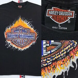 Vintage-90s-Harley-Davidson-Motorcycles-T-Shirt-L-Large-FIRE-Fun-Wear-Graphic