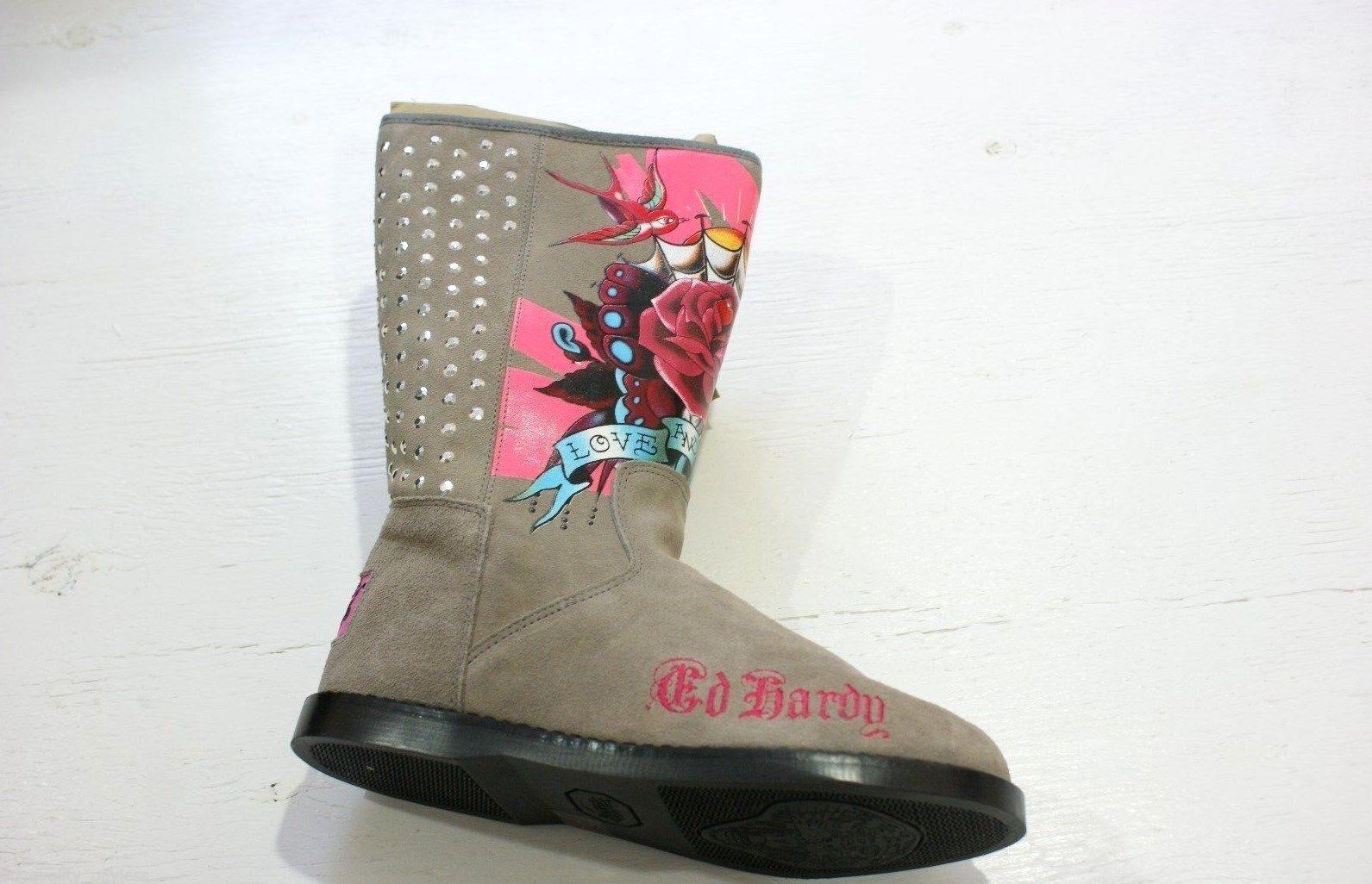 Ed botas Hardy botastrap botas Ed De Gamuza Piel Mitad de Pantorrilla para Mujer 7 gris Nuevo en Caja 12e7c5