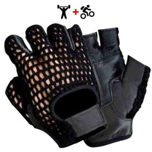 WHEELCHAIR GLOVES MESH LEATHER WEIGHT LIFTING HALF FINGER FITNESS BODYBUILDING