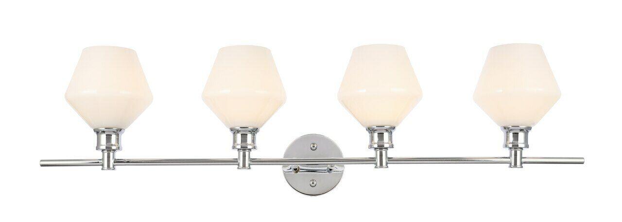 "CHROME WALL SCONCE CLEAR GLASS SHADE DINING ROOM BEDROOM BATHROOM 4-LIGHT 37.6/"""