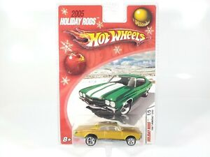 Hot-Wheels-2005-Holiday-Rods-1-5-1967-Pontiac-GTO-Gold-MOC-HTF-Real-Riders-NEW