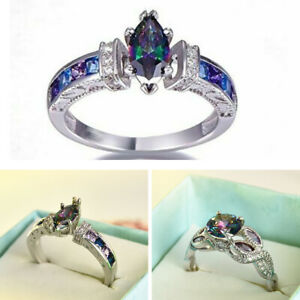 New-Fire-Topaz-Rainbow-Women-Jewelry-925-Silver-Wedding-Engagement-Ring-Sz-6-10