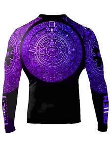 Raven Fightwear Men's Aztec Ranked Rash Guard MMA BJJ Purple