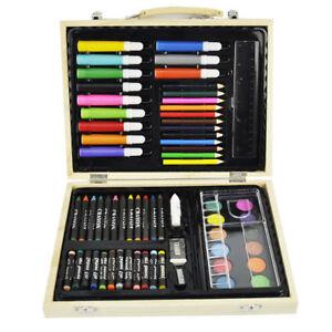 67 PIECE Artist ART SET WOODEN CASE Box Palette Crayons Pencils Felt Tips Paints