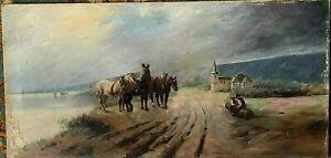 """Tableau """"  chevaux en bord de mer sur la côte normande """" huile sur toile, XIX"""