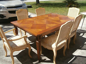 Details About Vintage Baker French Provincial Dining Room Set Country Cane Back