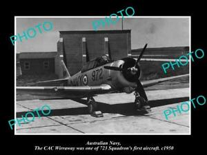 OLD-LARGE-HISTORIC-PHOTO-OF-AUSTRALIAN-NAVY-WIRRAWAY-PLANE-723-SQUADRON-c1950