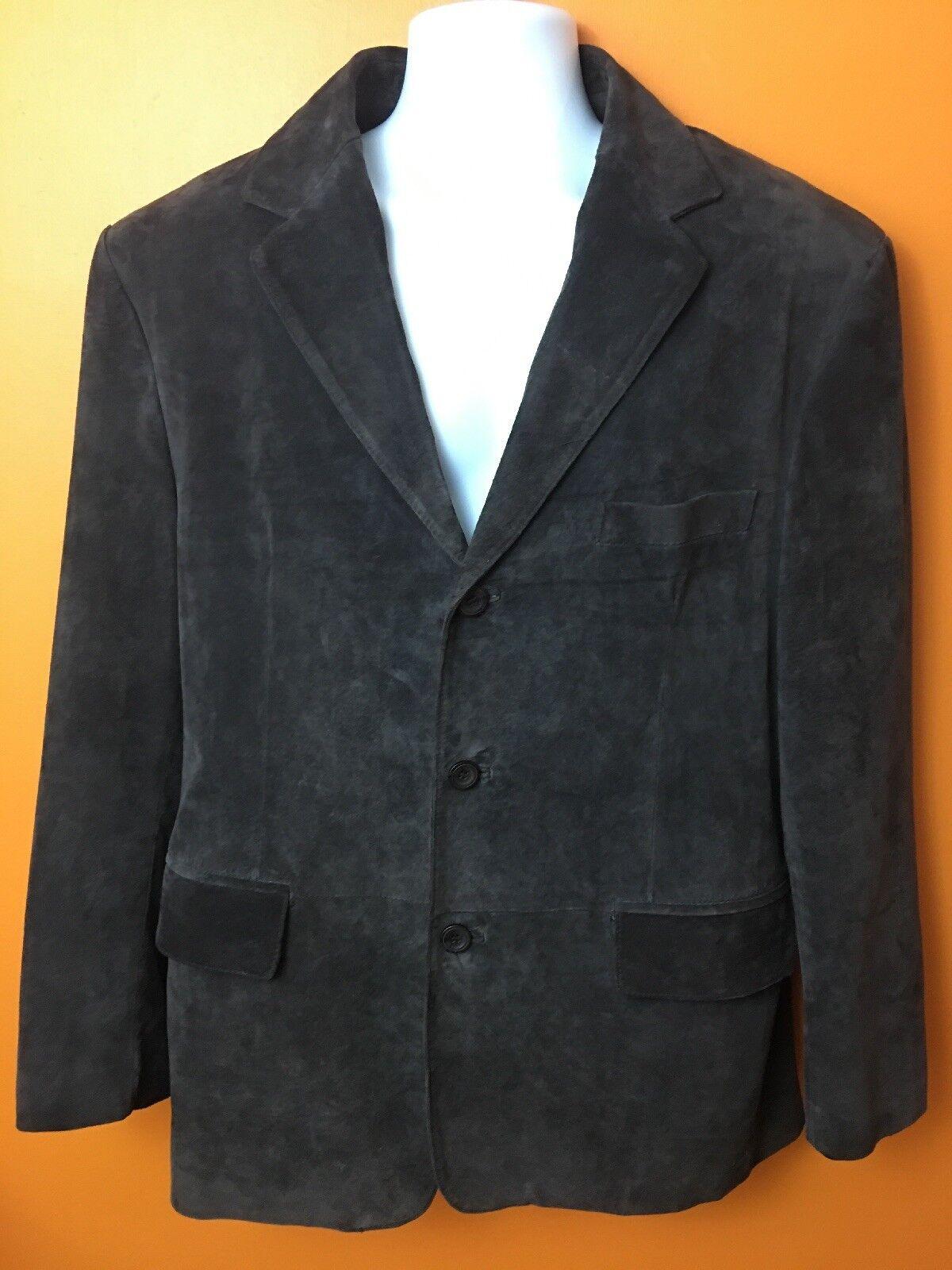 Apt 9 Men's Suede Leder Sport Coat Blazer 44 Regular Dark Braun