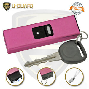 Pink Mini Stun Gun LED Flashlight Keychain Self-Defense Weapon Rechargeable