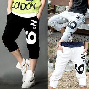 Mens-Casual-Hip-Hop-Dance-Sweatpants-Sport-Harem-Pants-Shorts-Cropped-Trousers