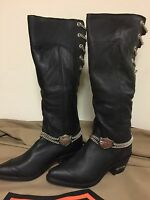 Harley-davidson 98413-96vw Black High Leather Chain Boots Size 10 Women's