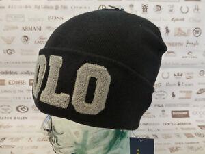 0e150685bed6c POLO RALPH LAUREN Fold-Up Beanie CHENILLE VARSITY Hat Black Skull ...