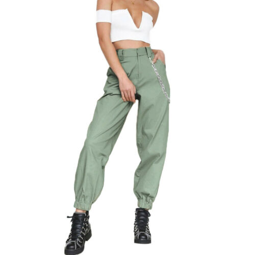 Eg /_ Donna Vita Alta Catena Hip-Hop Combattimento Cargo Harem Sport Pantaloni