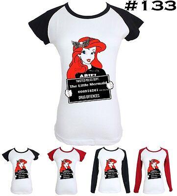Punk Disney Princess The Little Mermaid Ariel Design Women Girl T-Shirt Tee Tops