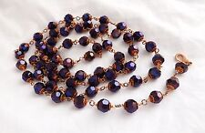 Purple crystal glass bead long necklace . glam flapper copper elegant jewellery