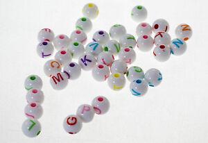 bijoux Lot 50-200 Perle Noir Acrylique Lettre Alphabet Ronde Mix 7mm Bracelet
