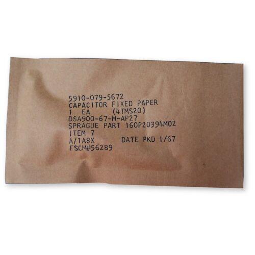 """DIFILM Mylar and Paper Capacitor NOS Sprague /""""Black Beauty/"""" 160P .02uF 400V"""