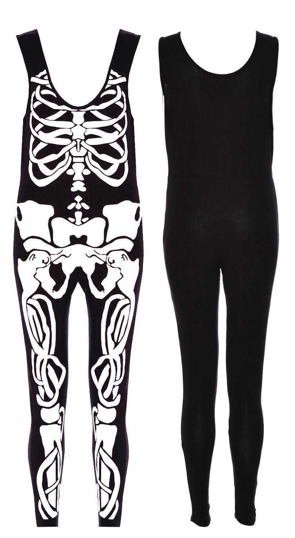 Mesdames Femmes Halloween Squelette Manche Os Sans Manche Squelette Tout en Un Combinaison 8-14 f19c6b