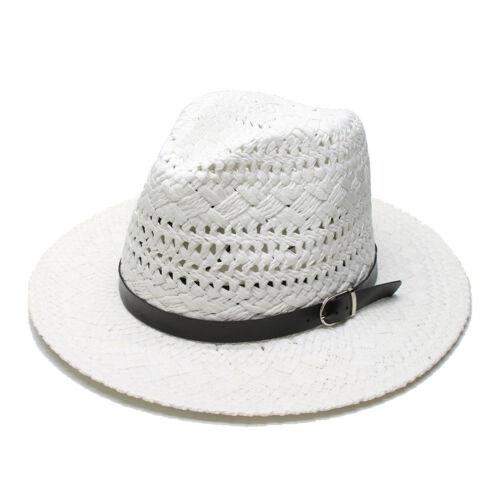 Summer Unisex/'s Sun Beach Raffia Fedora Panama Hat Wide Brim Cap Hollow Out 58CM