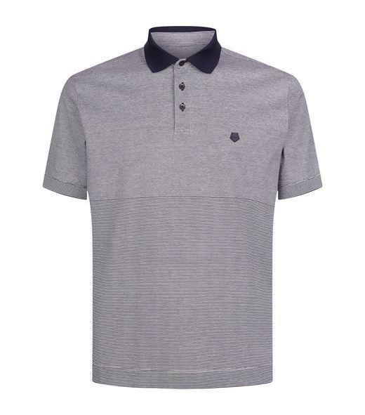 Z Zegna Designer Navy Striped Cotton Polo Collar Short Sleeve Shirt Top L