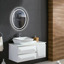 Wall Mounted Oval Bathroom Mirror LED Light Mirrors w// Warm//White//Gradient Light