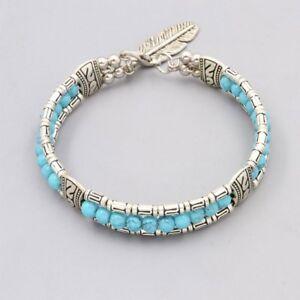 Bracelet-Femme-Argent-Turquoise-avec-Plume
