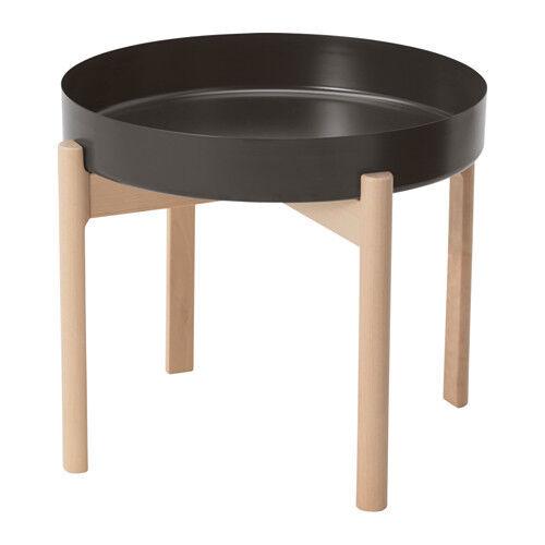 Ikea Ypperlig Metal Removable Top Round Side Coffee Table Dark Grey Birch 50cm Ebay