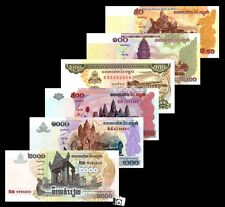 Cambodia 50,100,200,500,1000 and 2000 Riels Set of 6 Paper Money , UNC