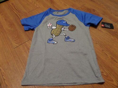 peanut-baseball size 5-gray-mr bnwt-boys short sleeve under armour shirt