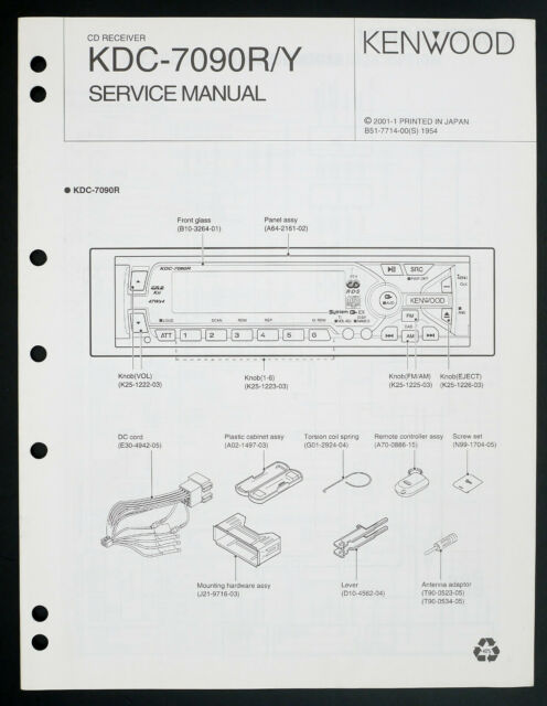 Kenwood Kdc Y Original Car Audio Cd Receiver Service Manual  Diagram O205