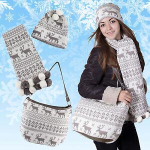 Cool Winterset 3 Pcs écharpe Bonnet Sac à Main Dans Le Classique Motif Renne-afficher Le Titre D'origine Jolie Et ColoréE