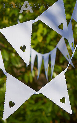 WHITE HEART BUNTING GARLAND Wedding Party Christening Engagement Decoration NEW
