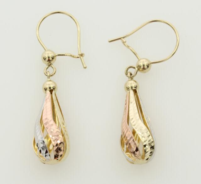 8a4551738f0568 14K Real Yellow Gold 3 Tri-color Fancy Teardrop Dangle Hanging Earrings  Woman