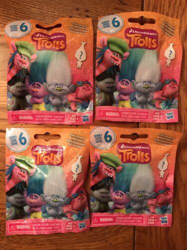 Hasbro DREAMWORKS TROLLS Series 6 Figures blind bag Packs Lot de 4 quatre Scellé