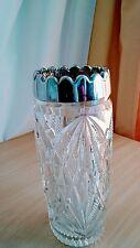 Kristall Blockvase Glasvase Bodenvase Vase  old German cristal Art silver armed